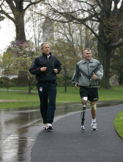 President Bush jogging with McNaughton
