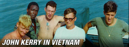 Kerry with other Swift Boat personnel in Vietnam